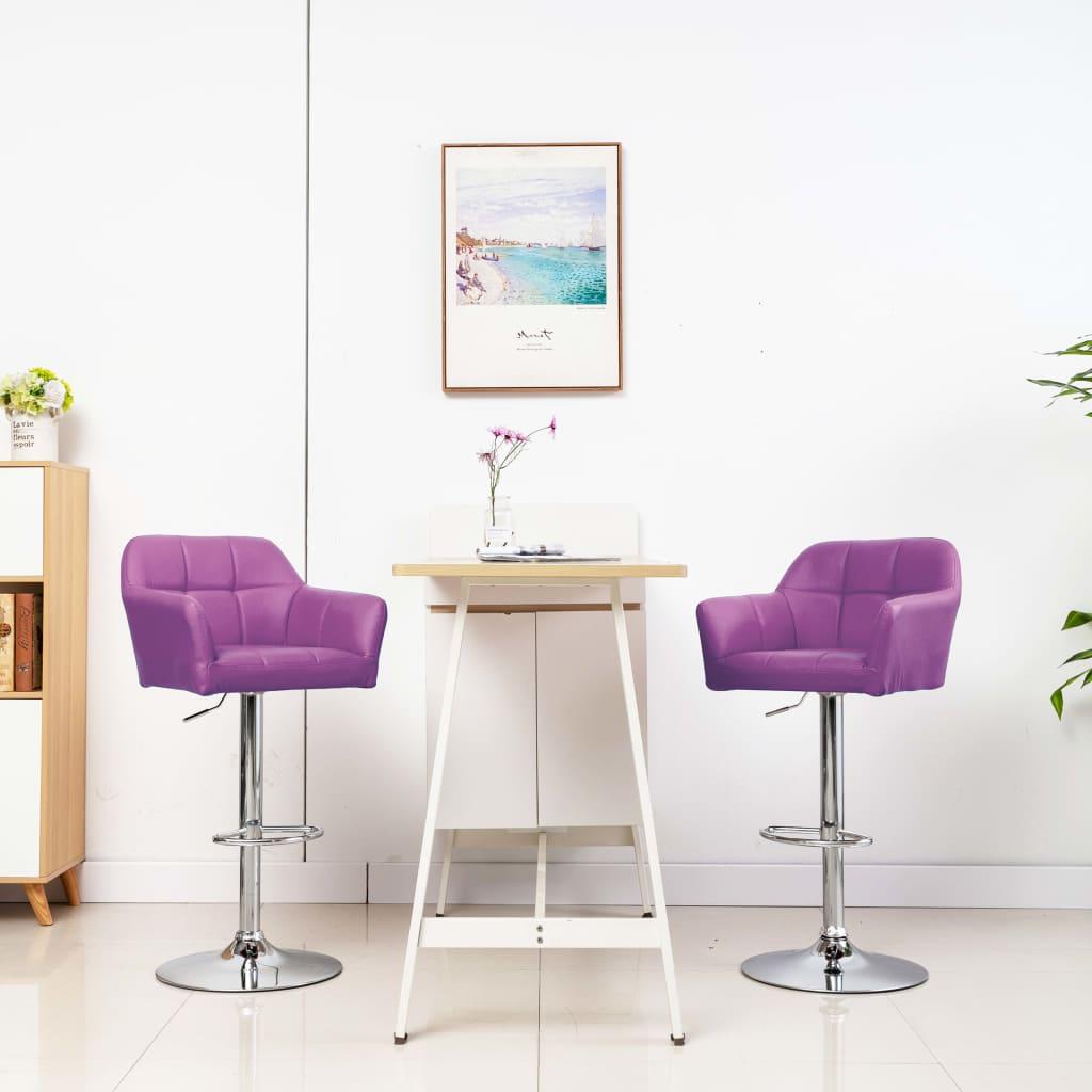 vidaXL Barstoelen 2 st met armleuning kunstleer paars
