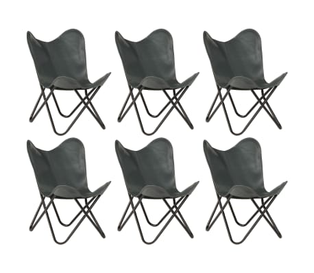 vidaXL Butterfly Chairs 6 pcs Grey Kids Size Real Leather