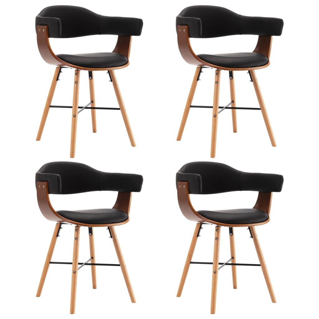 Esszimmerstühle 4 Stk. Schwarz Kunstleder und Bugholz