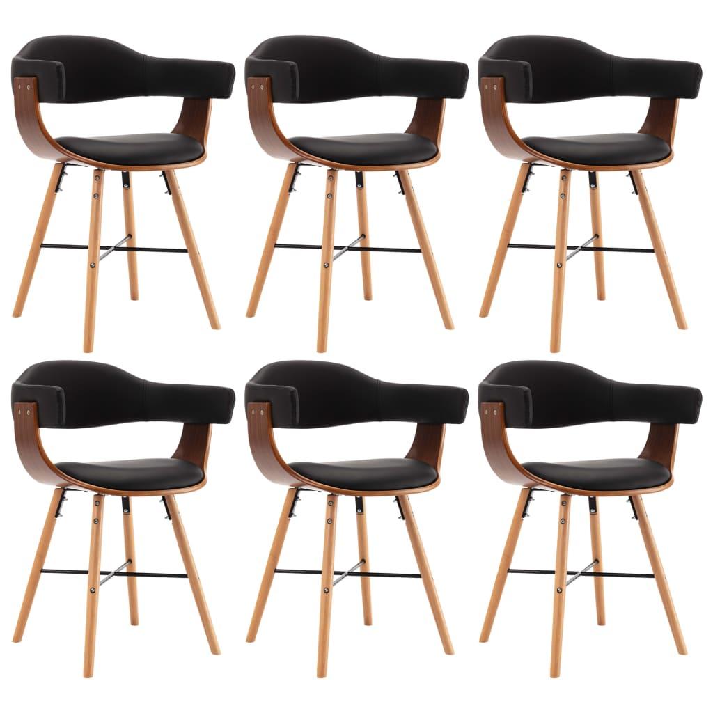 vidaXL Καρέκλες Τραπεζαρίας 6 τεμ. Μαύρες Συνθετικό Δέρμα/Λυγισμ. Ξύλο