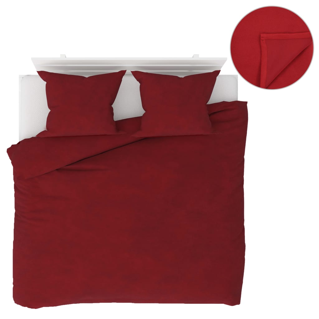 vidaXL Set lenjerie pat, 5 piese, roșu vin, 200x200/60x70, fleece vidaxl.ro