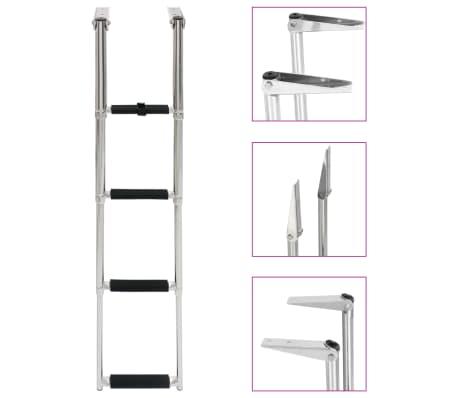 vidaXL Badstege hopfällbar 4 steg rostfritt stål
