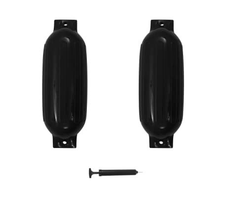 vidaXL Båtfender 2 st svart 69x21,5 cm PVC