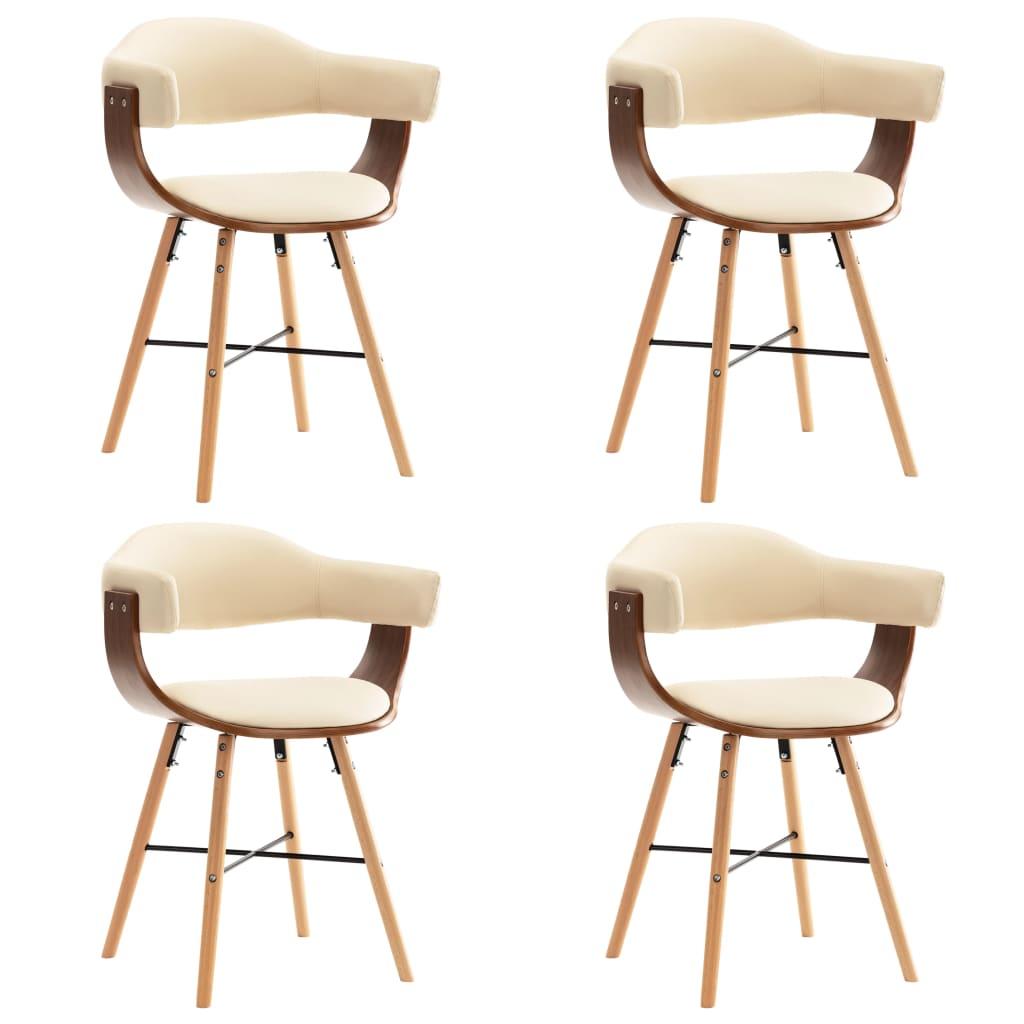 vidaXL Καρέκλες Τραπεζαρίας 4 τεμ. Κρεμ Συνθετικό Δέρμα/Λυγισμένο Ξύλο