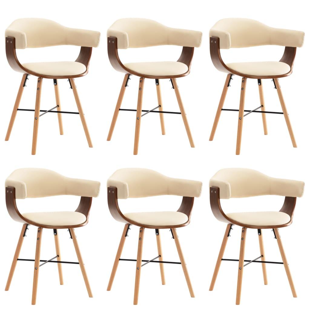 vidaXL Καρέκλες Τραπεζαρίας 6 τεμ. Κρεμ Συνθετικό Δέρμα/Λυγισμένο Ξύλο