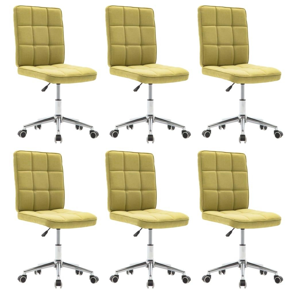 vidaXL Καρέκλες Τραπεζαρίας 6 τεμ. Πράσινες Υφασμάτινες