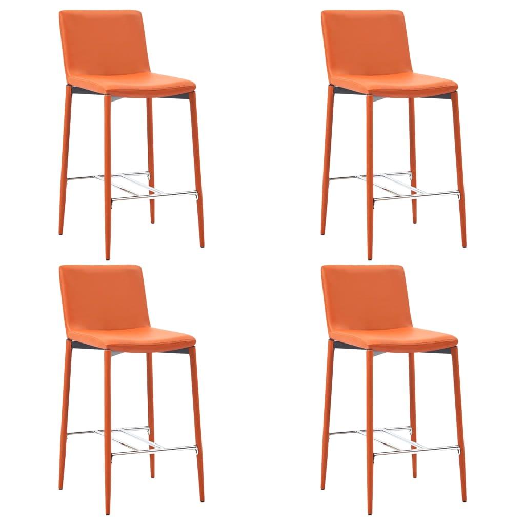 vidaXL Scaune de bar, 4 buc., portocaliu, piele ecologică