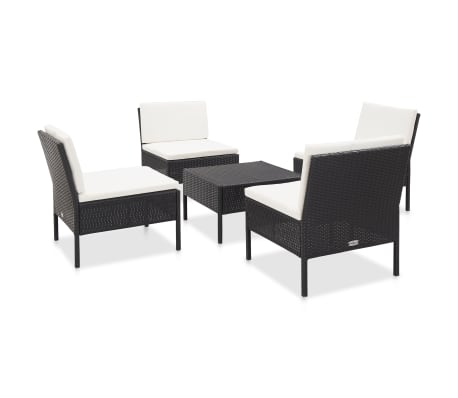 vidaXL 5 Piece Garden Sofa Set with Cushions Poly Rattan Black