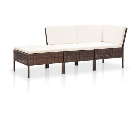 vidaXL 3 Piece Garden Lounge Set with Cushions Poly Rattan Brown