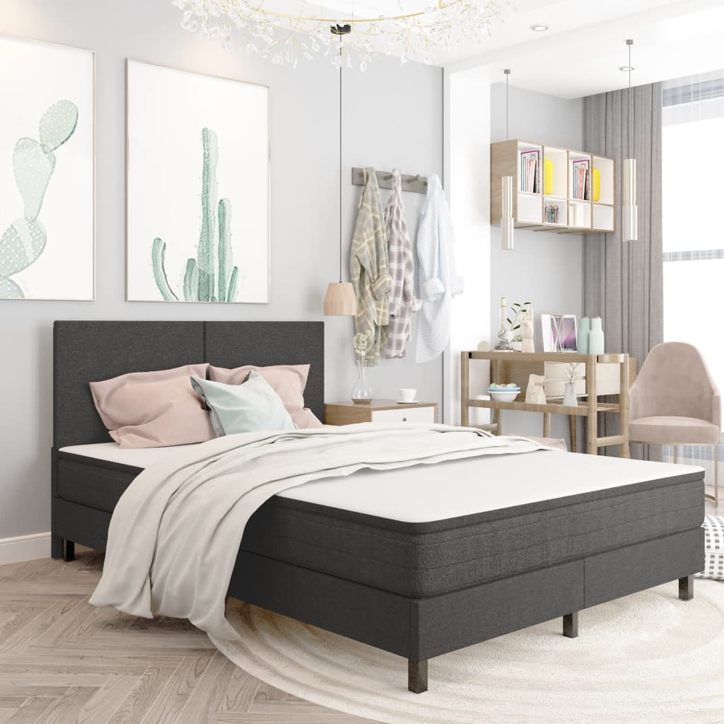 vidaXL sengestel til boxmadras 140x200 cm stof grå