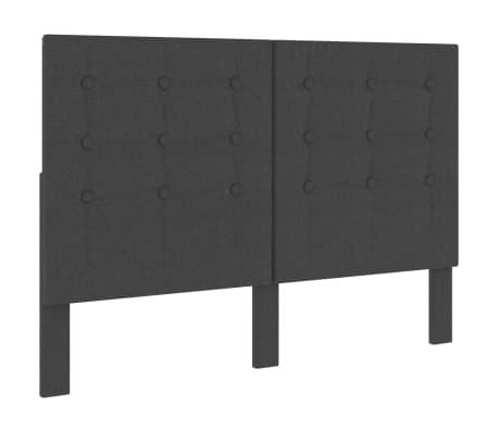 vidaXL sengegavl med mønster 140x200 cm stof mørkegrå