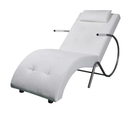 vidaXL Chaise Longue with Pillow White Faux Leather
