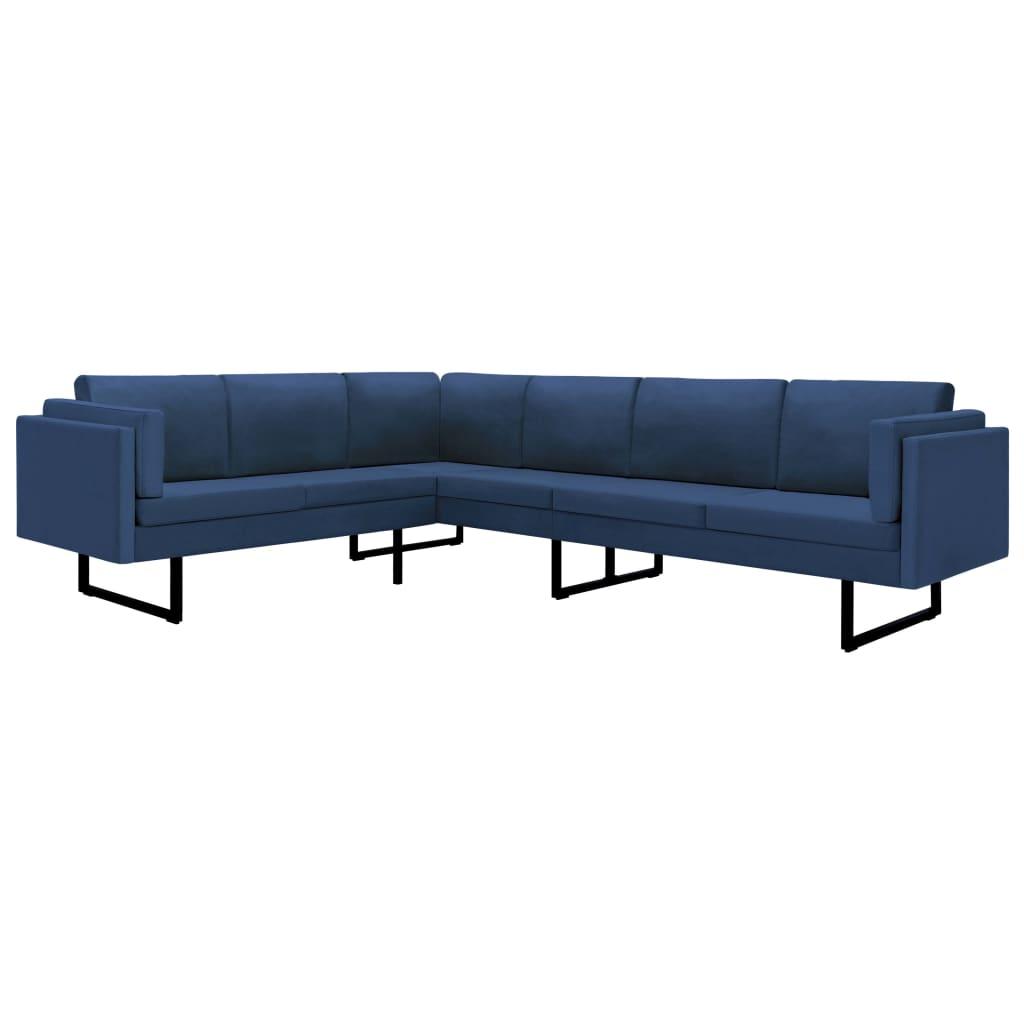 vidaXL Καναπές Γωνιακός Μπλε Υφασμάτινος