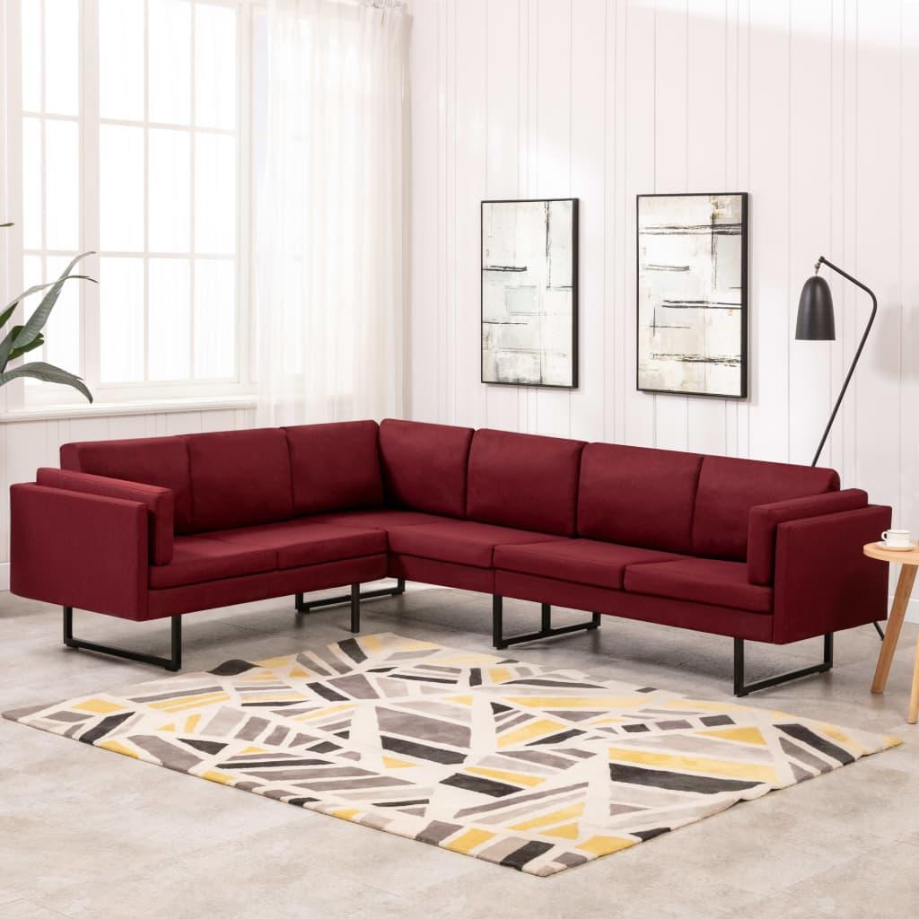 Canapé d'angle Rouge Tissu Confort