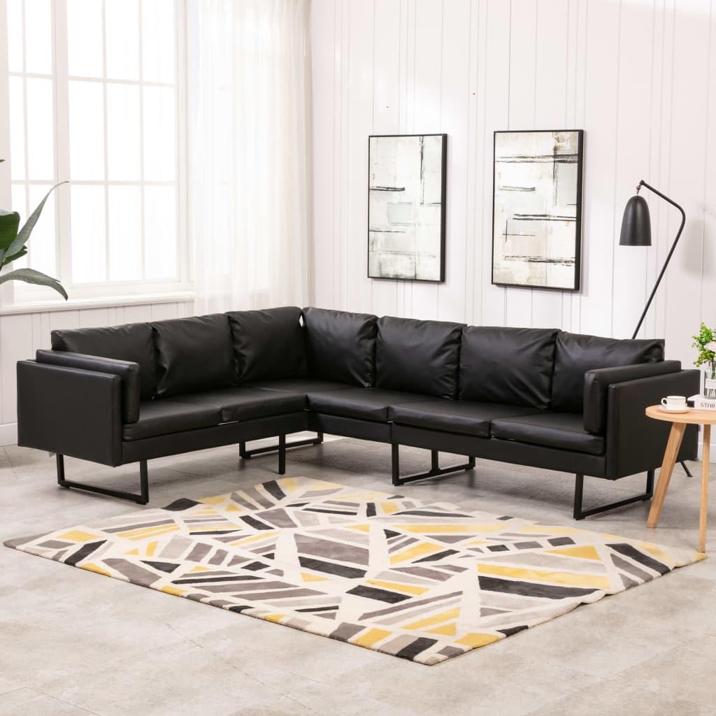 vidaXL Canapea de colț, negru, piele ecologică imagine vidaxl.ro