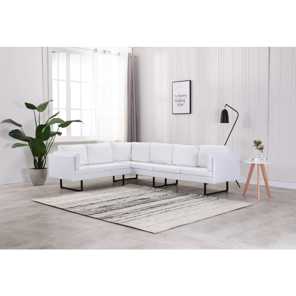 Canapé d'angle Blanc Cuir Confort