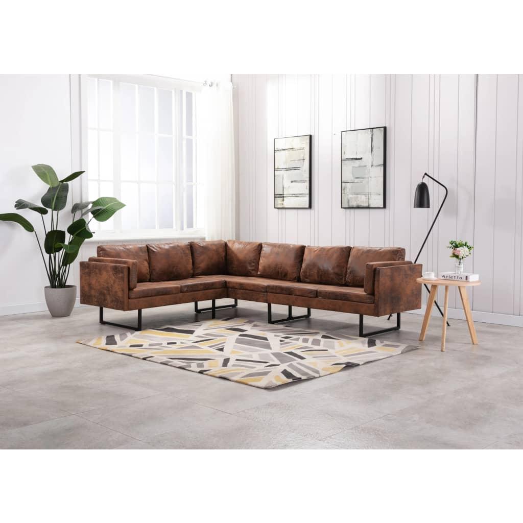 Canapé d'angle Marron Cuir Confort