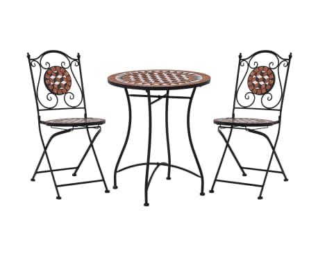 Set arredo giardino mosaico tavolo e sedie in ferro con terracotta ceramica  nuo