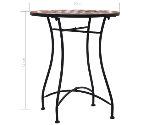 vidaXL Mobilier de bistro 3 pcs mosaïque Carreau céramique Terre cuite[13/14]