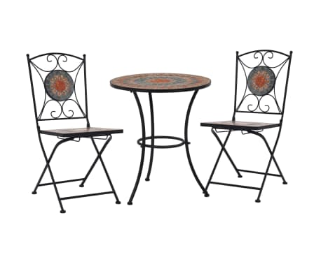 vidaXL 3 Piece Mosaic Bistro Set Ceramic Tile Orange/Gray