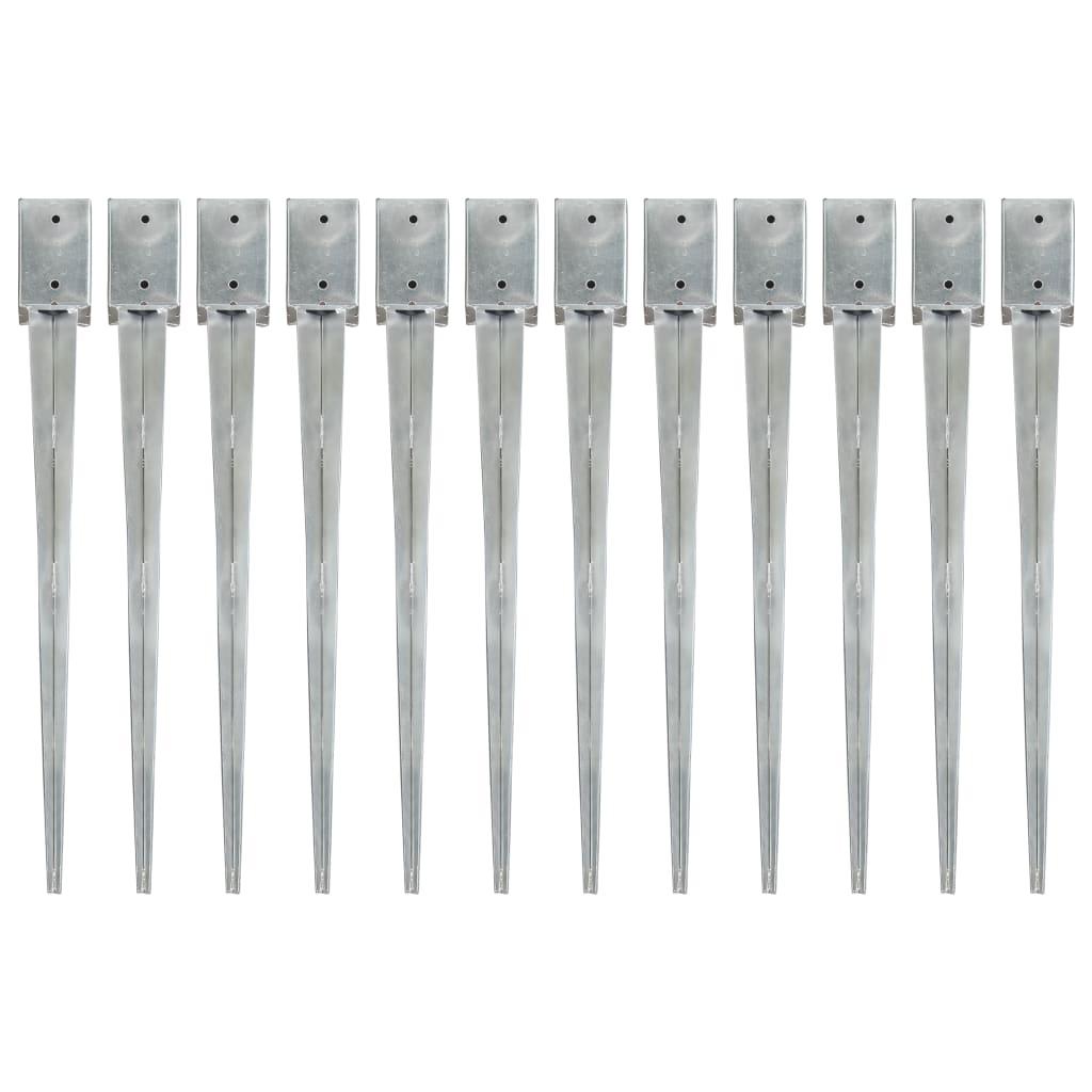 vidaXL Kotvící hroty 12 ks stříbrné 9 x 9 x 90 cm pozinkovaná ocel