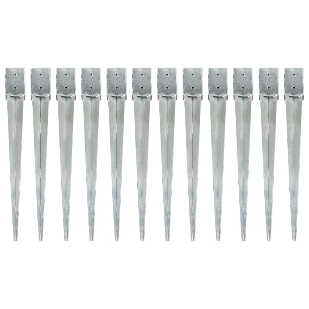 vidaXL Țăruși de sol, 12 buc., argintiu, 10x10x91 cm, oțel galvanizat vidaxl.ro