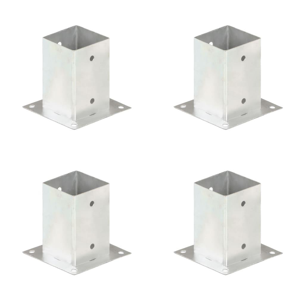 vidaXL Suporți stâlp, 4 buc., metal galvanizat, 91 mm poza 2021 vidaXL