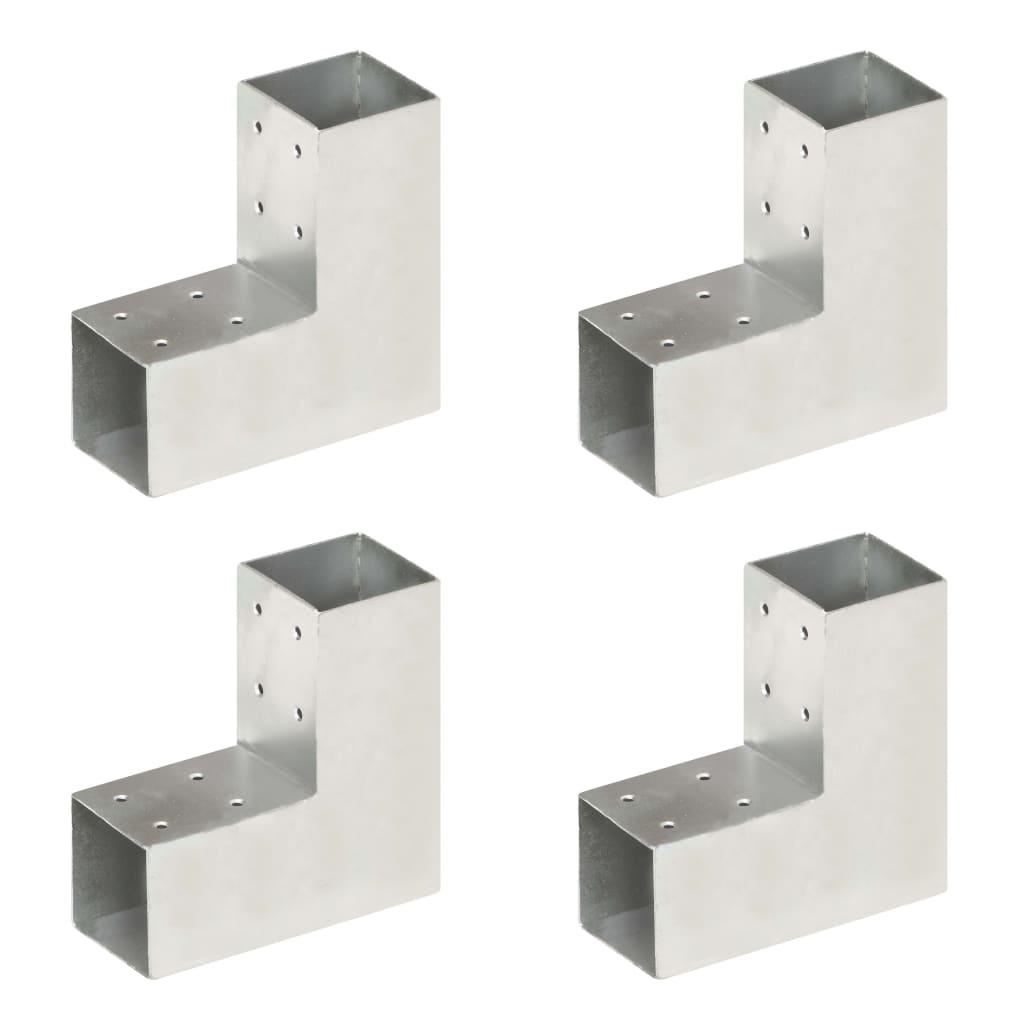 vidaXL Conectori de grindă, formă L, 4 buc, 71x71 mm, metal galvanizat poza 2021 vidaXL