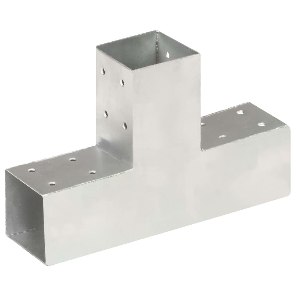 vidaXL Conector de grindă, formă T, 71 x 71 mm, metal galvanizat poza 2021 vidaXL