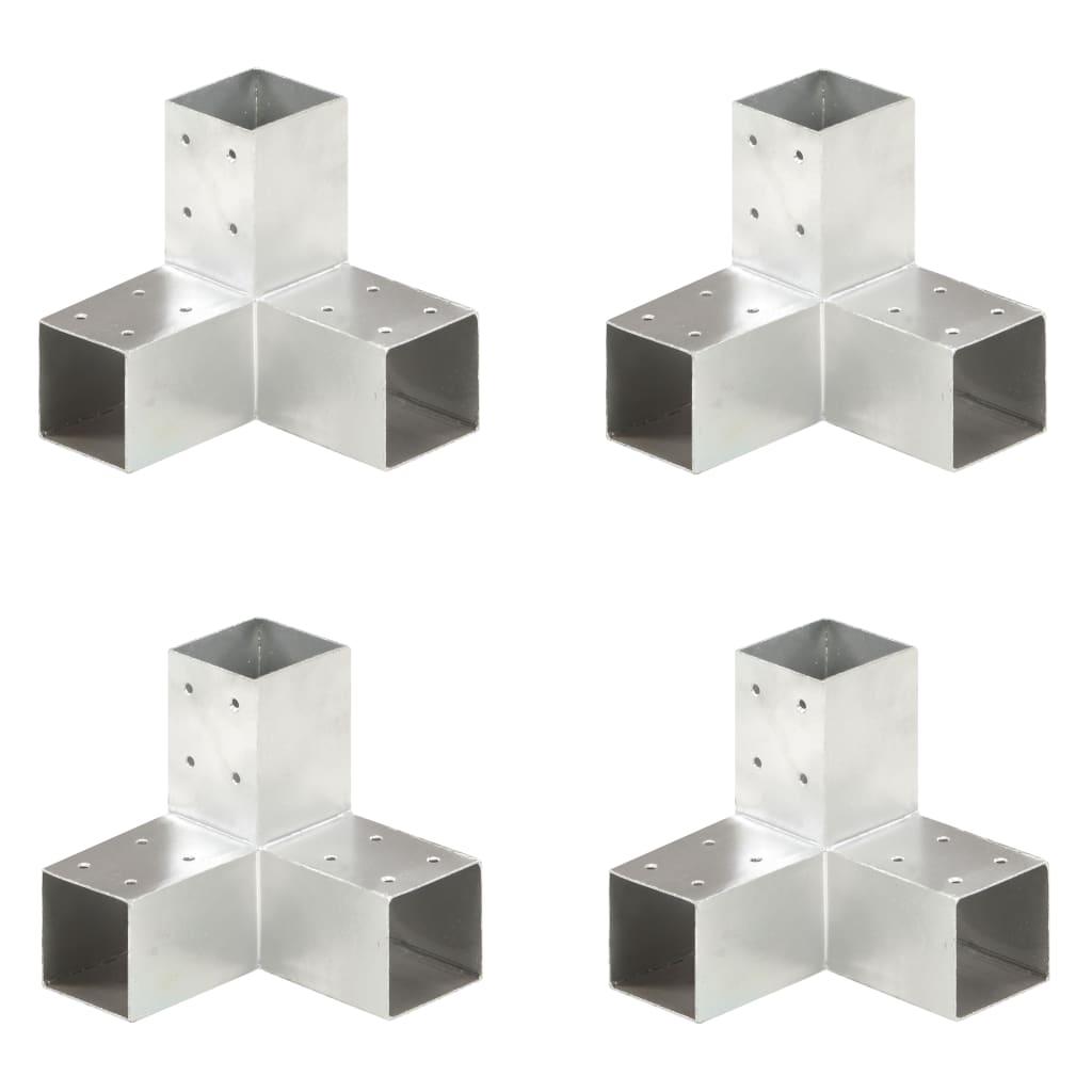 vidaXL Conectori de grindă, formă Y, 4 buc, 71x71 mm, metal galvanizat poza 2021 vidaXL