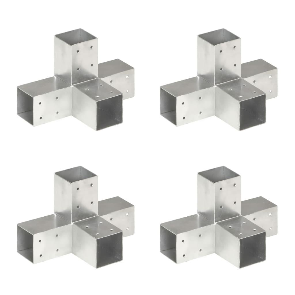 vidaXL Conectori de grindă, formă X, 4 buc, 71x71 mm, metal galvanizat poza 2021 vidaXL
