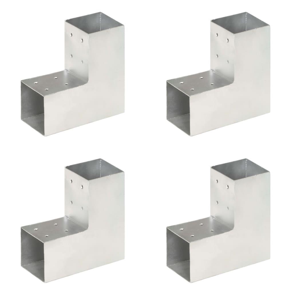 vidaXL Conectori de grindă, formă L, 4 buc, 81x81 mm, metal galvanizat poza 2021 vidaXL