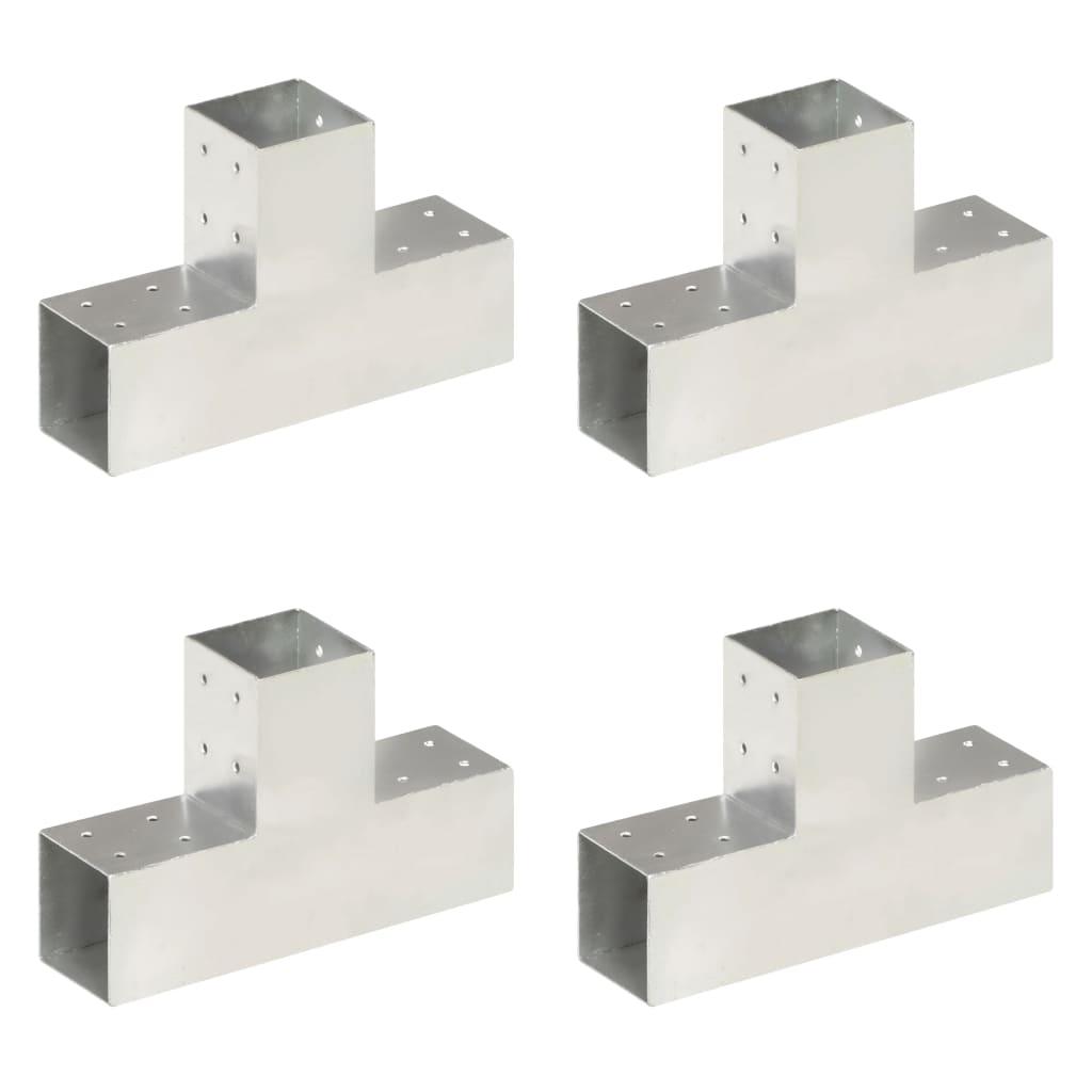 vidaXL Conectori de grindă, formă T, 4 buc, 81x81 mm, metal galvanizat vidaxl.ro