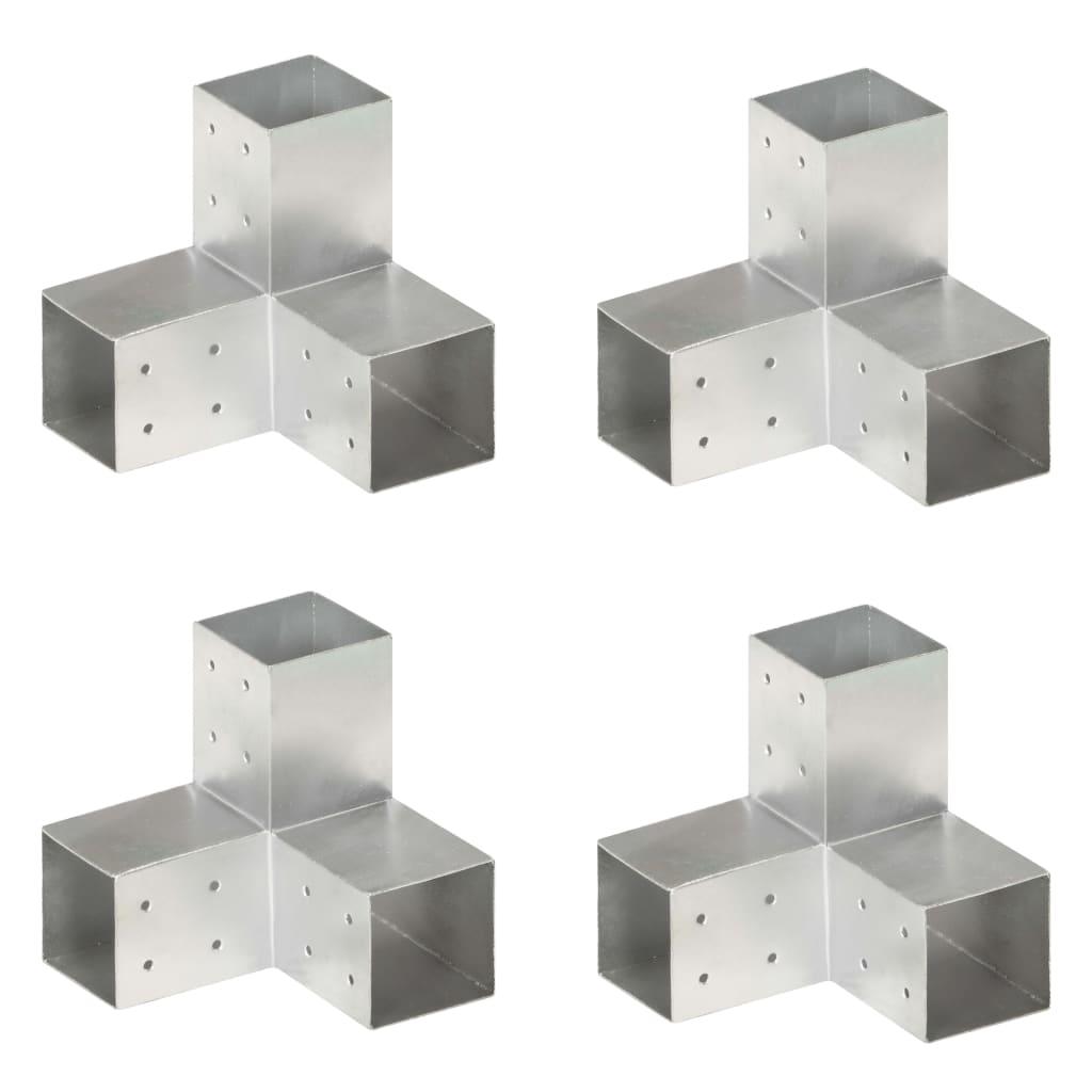 vidaXL Conectori de grindă, formă Y, 4 buc, 81x81 mm, metal galvanizat vidaxl.ro