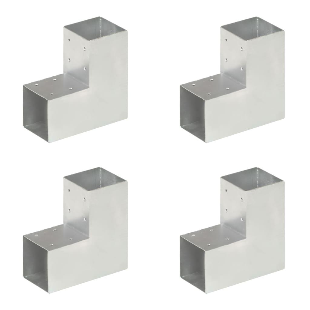 vidaXL Conectori de grindă, formă L, 4 buc, 91x91 mm, metal galvanizat vidaxl.ro