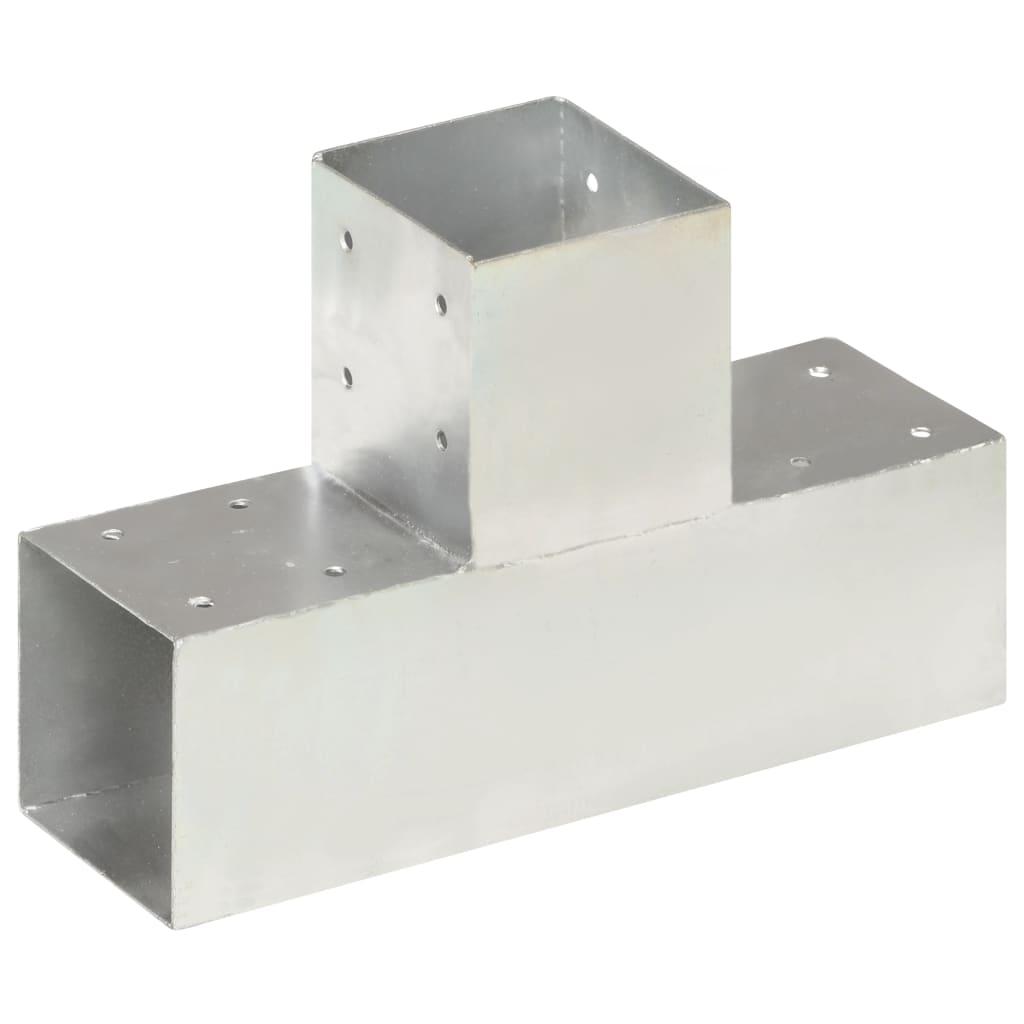 vidaXL Conector de grindă, formă T, 91 x 91 mm, metal galvanizat poza 2021 vidaXL