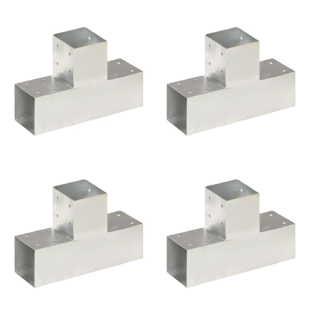 vidaXL Conectori de grindă, 4 buc, formă T, 91x91 mm, metal galvanizat vidaxl.ro