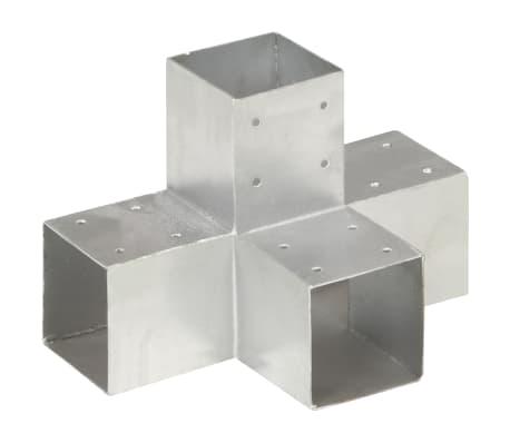 vidaXL Post Connector X Shape Galvanised Metal 91x91 mm