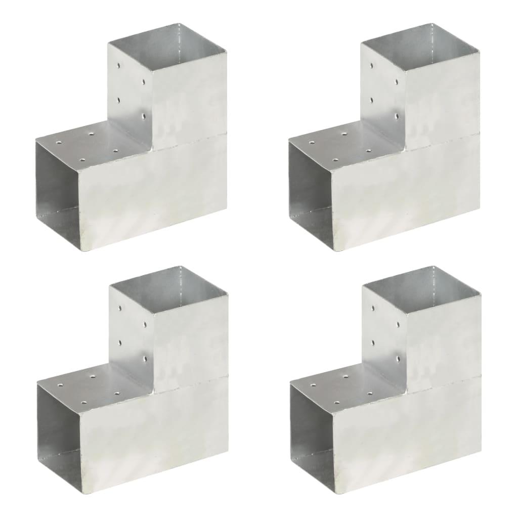 vidaXL Conectori grindă, formă L, 4 buc, 101x101 mm, metal galvanizat poza 2021 vidaXL
