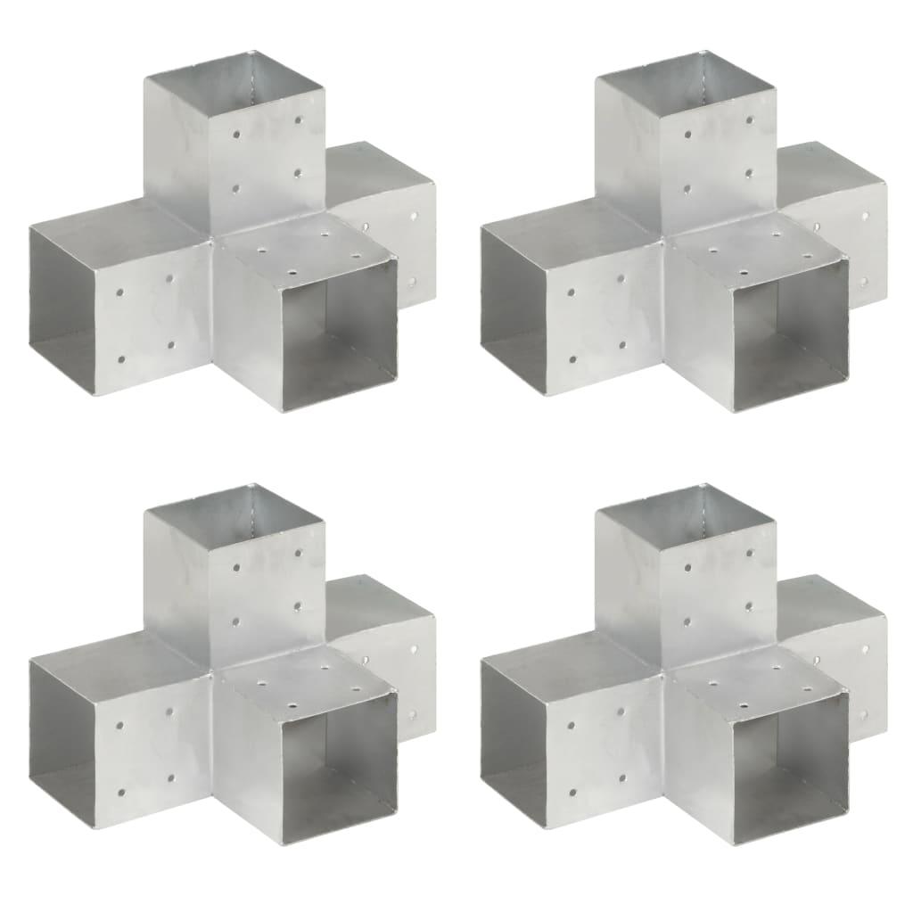 vidaXL Conectori grindă, formă X, 4 buc, 101x101 mm, metal galvanizat poza 2021 vidaXL