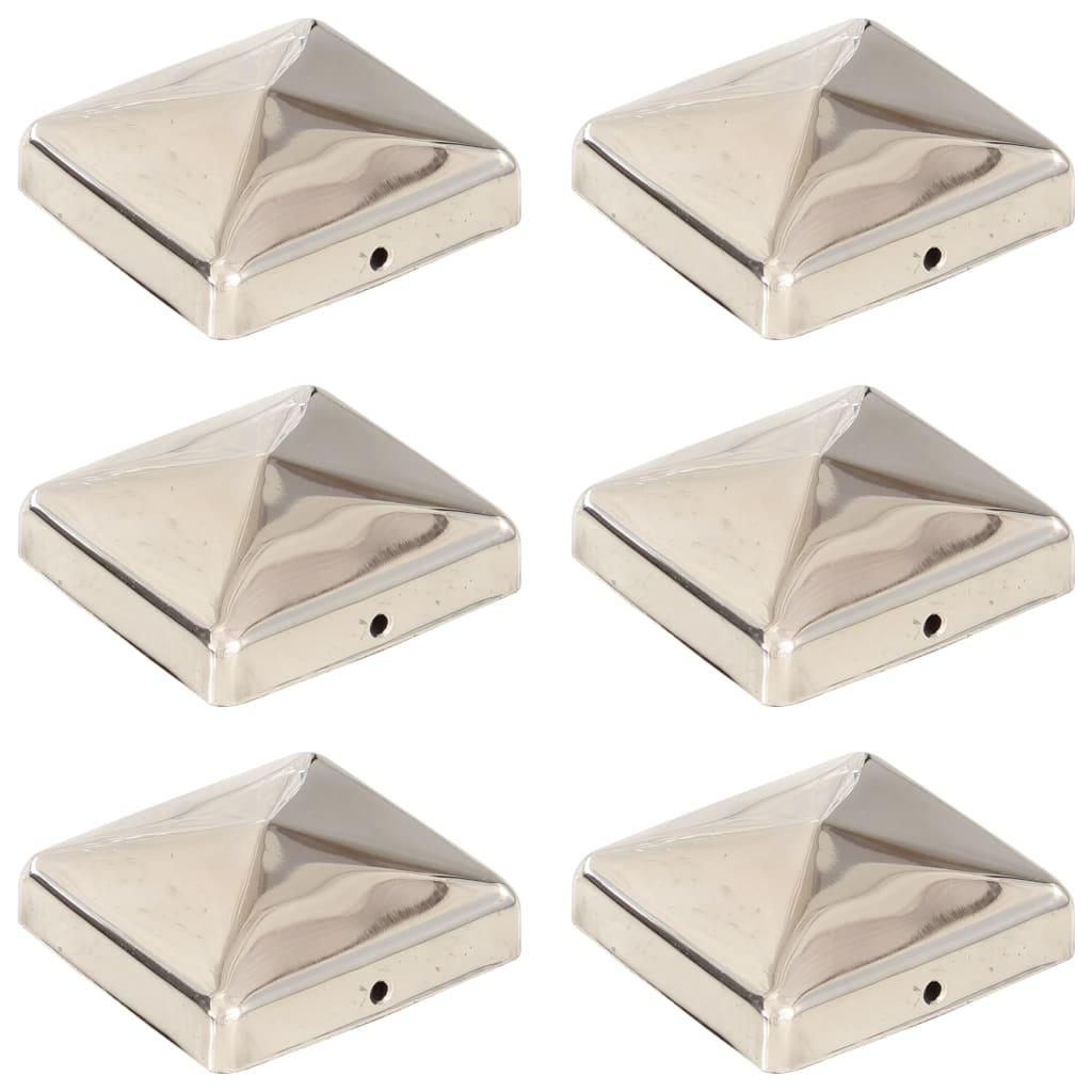 vidaXL Capace stalpi de gard piramidă 6 buc. 71x71 mm oțel inoxidabil imagine vidaxl.ro
