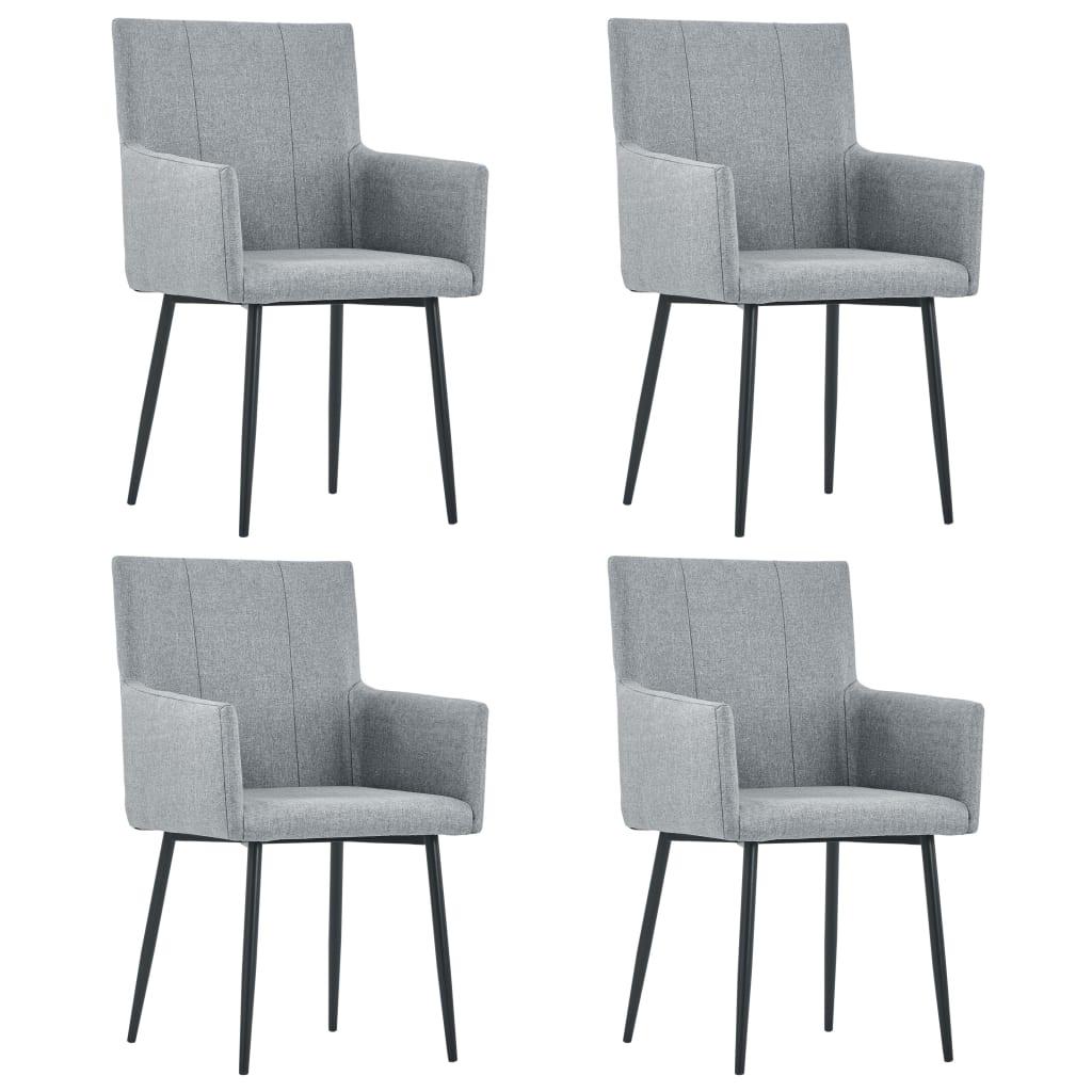 vidaXL Καρέκλες Τραπεζαρίας με Μπράτσα 4 τεμ. Ανοιχτό Γκρι Υφασμάτινες