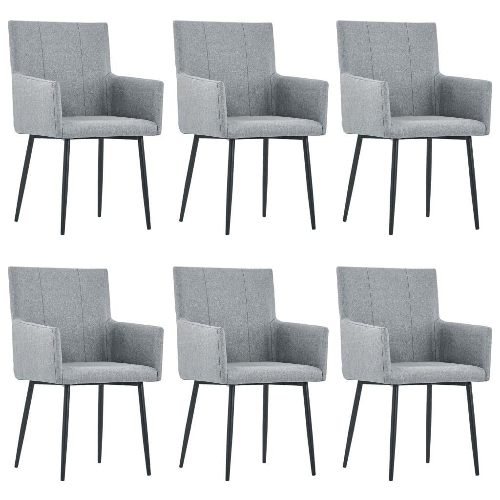 vidaXL Καρέκλες Τραπεζαρίας με Μπράτσα 6 τεμ. Ανοιχτό Γκρι Υφασμάτινες