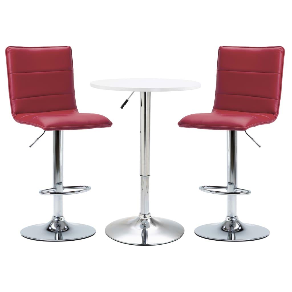 <ul><li><strong>Bartisch:</strong></li><li>Farbe: Weiß</li><li>Material: MDF-Tischplatte + Gestell aus verchromtem Stahl</li><li>Abmessungen: 60 x (70 - 91,5) cm (Durchmesser x H)</li><li><strong>Barstühle:</strong></li><li>Farbe: Weinrot</li><li>Material: Kunstlederbezug + verchromtes Stahlgestell</li><li>Abmessungen: 42 x 52 x (95,5-117) cm (B x T x H)</li><li>Mit Fußablage</li><li>Mit Gasdruckfeder</li><li>Die Lieferung umfasst 1 Stehtisch und 2 Barhocker</li><li>Material: Polyurethan: 100%</li></ul>