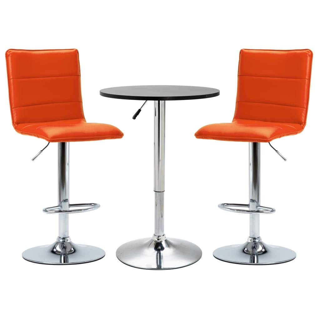 vidaXL Set mobilier de bar, 3 piese, negru, piele ecologică poza 2021 vidaXL