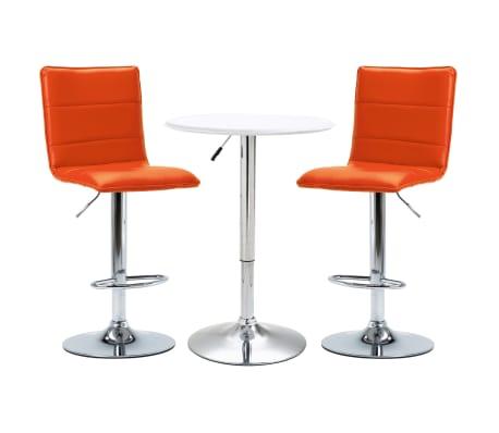 vidaXL Set mobilier de bar, 3 piese, alb, piele ecologică