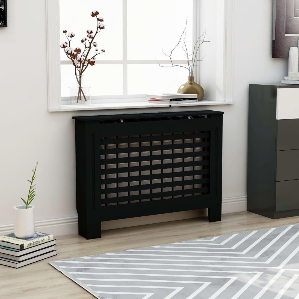Kryt na radiátor černý 112 x 19 x 81 cm MDF