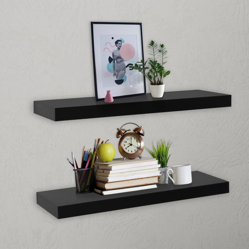 vidaXL Rafturi de perete suspendate, 2 buc., negru, 60x20x3,8 cm imagine vidaxl.ro