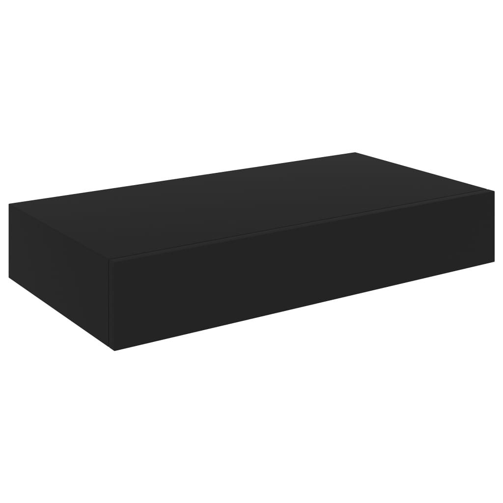 vidaXL Wandschap met lade zwevend 48x25x8 cm zwart