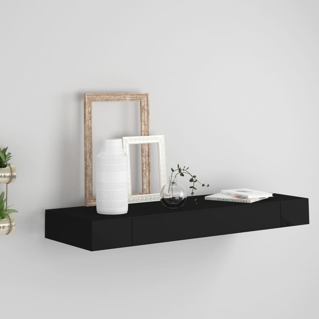 Schweberegal mit Schublade Schwarz 80 x 25 x 8 cm